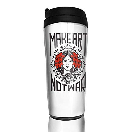 Qurbet Tazza da Viaggio da caffè, Bottiglia d'acquas, Make Art Not War, Iced Espresso Small Coffee Mug Reusable Plastic Curve Travel Mug for Kids Teens Adults