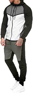 Maweisong Men's Color Block Sweatshirts Hoodies Blouse and Pants Tracksuit