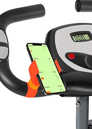 Porta Cellulare Bici Cyclette Pieghevole valido per Smartphone con Schermo Fino a 7' Porta Telefono Bici Bicicletta Cyclette ellittica Bici Spinning (Arancione)
