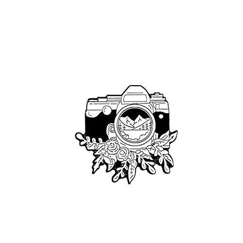 Vintage Kamera Emaille Pin schwarz weiß Abzeichen Brosche für Tasche Kleidung Revers Pin-Default