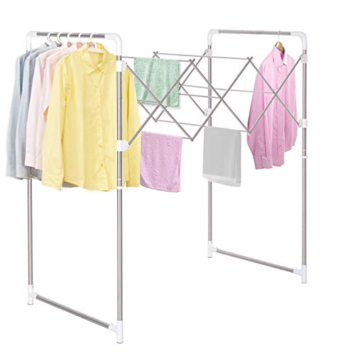 HOMCOM Kleiderständer Wäscheständer Standtrockner zusammenklappbar ABS-Schutz Edelstahl 16,5–110 x 76 x 133 cm