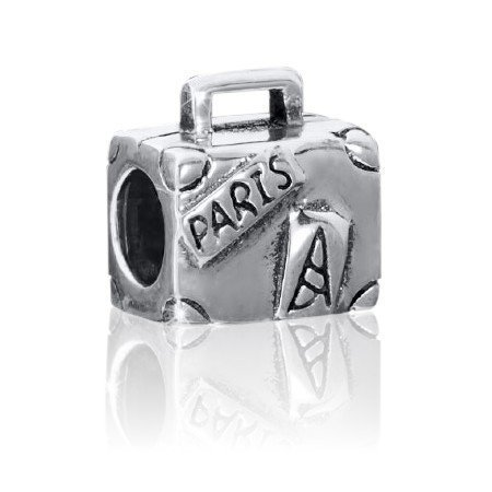Materia 925 Silber Beads Koffer Element - Silber Bead antik Paris/Eiffelturm/Frankreich für Beads Armbänder bis 4,4mm #1462