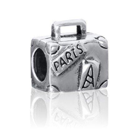 Materia 925 zilveren kralen koffer element - zilveren kraal antiek Parijs/eiffeltoren/Frankrijk voor kralen armbanden tot 4,4mm #1462