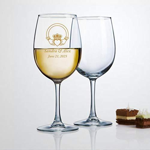 Vaso de vino con motivo de anillo celta Claddagh, copas de vino impresas sopladas a mano, perfectas para bodas, fiestas de cumpleaños, aniversario, 17 onzas