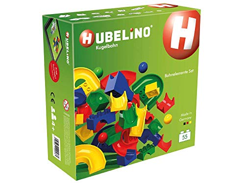 Hubelino Marble Run -55-Piece Run Elements Expansion Set - The Original! Made in Germany! - Certified and Award-Winning Marble Run - 100% Compatible with Duplo