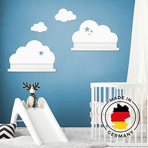 Wandtattoo Wolken in weiß mit Sterne für IKEA Regalbrett Ribba/Mosslanda 55 cm Bilderleiste für Babyzimmer Kinderzimmer – Aufkleber für Wand Tapete