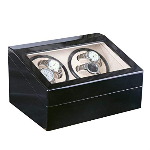 GUOCAO 4+6 automático mecánico negro caja de reloj reloj agitador reloj pantalla enrollador