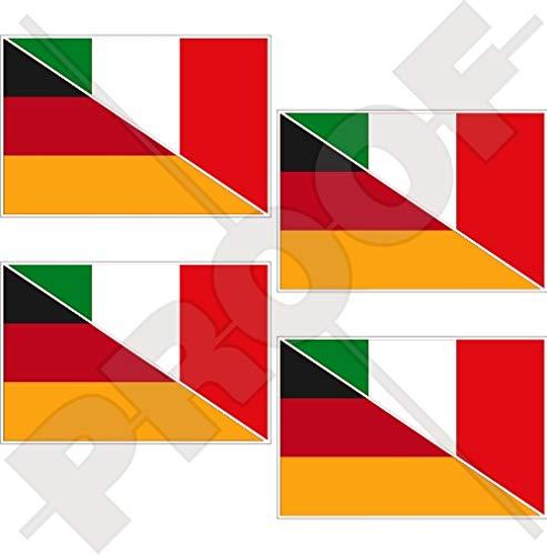 DEUTSCHLAND-ITALIEN Deutsch-Italienisch Flagge 50mm Auto & Motorrad Aufkleber, x4 Vinyl Stickers