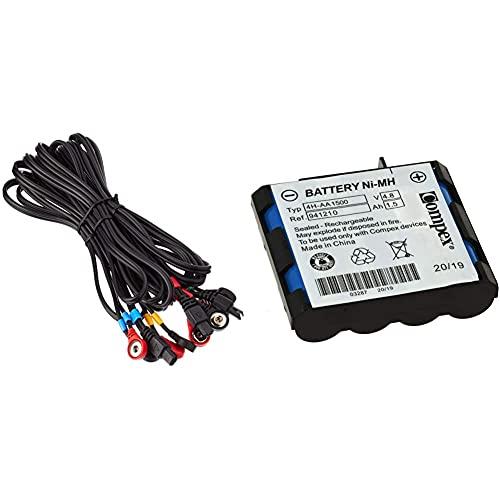 Compex Cables A Presión Snap, Color Negro, Talla Única + 941210- Batería De Recambio, Azul