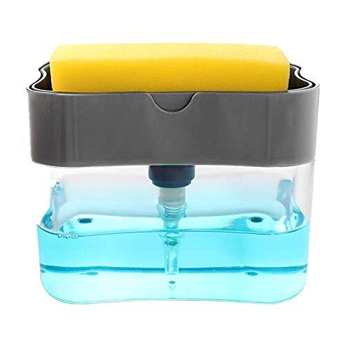 TAECOOOL Dispensador de jabón, soporte de esponja para fregadero, dispensador de jabón de utensilios de cocina (negro gris)