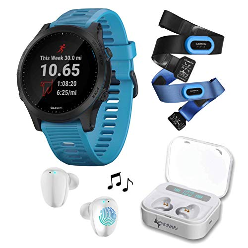 Wearable4U Garmin Forerunner 945 Premium GPS Running/Triathlon Smartwatch with Included Ultimate White Earbuds with...
