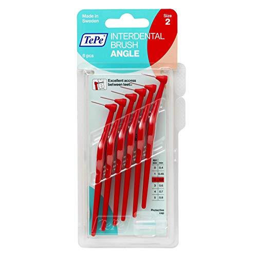 TePe Angle Interdentalbürsten Rot (ISO Größe 2: 0,5 mm) / Kontrollierte Reinigung der Zahnzwischenräume auch an schwer zugänglichen Stellen / 1 x 6 Angle Interdentalbürsten