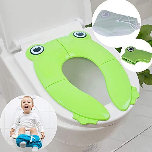 Aorange Potty Training Seat, Reusable Travel Potty Seat for Toddler, Non-Slip Portable Potty Seat for Toddler Travel, Washable Portable Toilet Seat Toddler, Best Foldable Potty, Green
