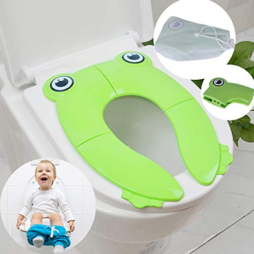 Aorange Potty Training Seat, Reusable Travel Potty Seat for Toddler, Non-Slip Portable Potty Seat for Toddler Travel, Washable Portable Toilet Seat Toddler, Best Foldable Potty, Green