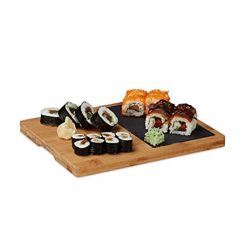 Relaxdays Tabla Cortar Cocina, Plato Pizarra, Asa, Bandeja Rectangular Rústica, Bambú, 1 Ud, 2 x 30,6 x 25 cm, Marrón