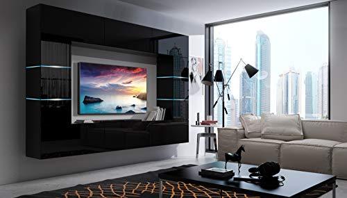 Home Direct Future 61, Modernes Wohnzimmer, Wohnwände, Wohnschränke, Schrankwand, Möbel 1B (Front: Schwarz Hochglanz/Korpus: Schwarz Matt 61/HG/B/1, LED RGB 16 Farben)