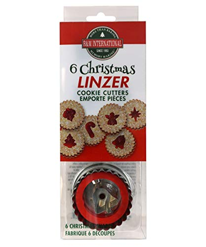 R&M International Christmas Linzer Cookie Cutters, Angel, Candy Cane, Bethlehem Star, Bell, Christmas Tree, Ornament, 6-Piece Set