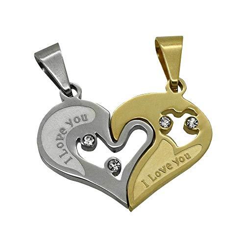 Pendentif Coeur Séparable Amour Couple Fantaisie Acier 2 Chaînes Offertes!