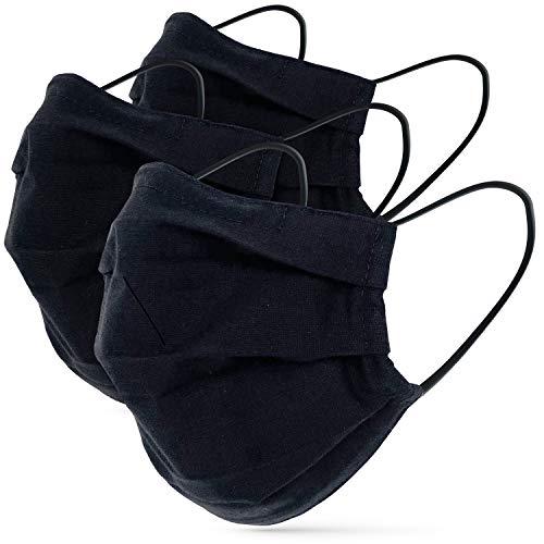 tanzmuster Gesichtsmaske schwarz für Erwachsene - Stoffmaske mit Nasenbügel und Filtertasche - Alltagsmaske waschbar - 100% Baumwolle OEKO-TEX Standard 100. Hauchdünn M/L 3er Set