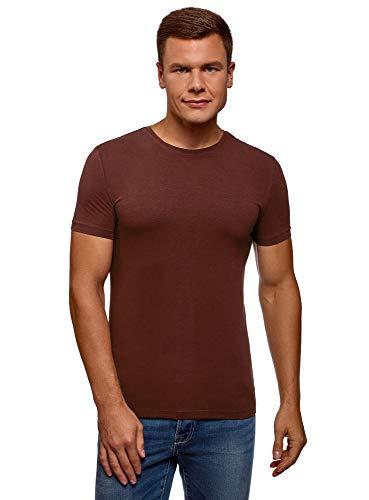 oodji Ultra Hombre Camiseta Básica Entallada, Marrón, XL