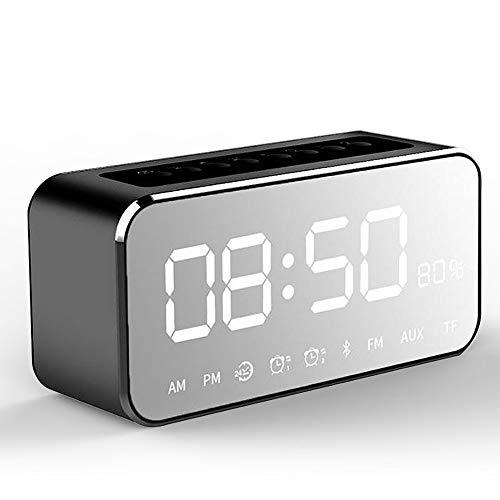 HCCX - Reloj despertador portátil con superficie de espejo y altavoz Bluetooth inalámbrico, mini radio FM, reproductor de música, altavoz compatible con tarjeta TF, negro, L