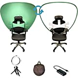 Gig Gear Cam-A-Lot Video Conferencing Background Privacy Screen (White/Green) with 8-Inch Bi-Color LED Ring Light Kit and a 4-Port USB Hub with Individual LED lit Power Switches