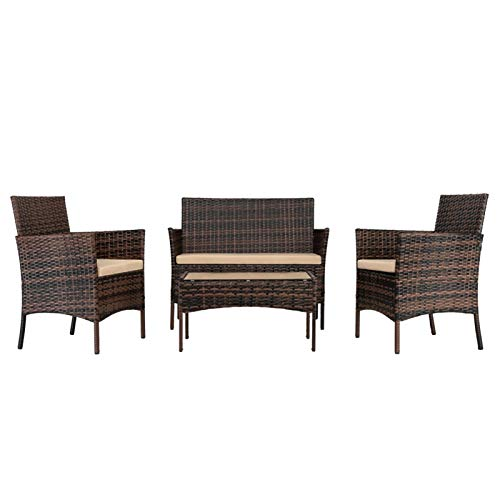 Gwendolyn 2pcs Arm Chairs 1pc Love Seat & Tempered Glass Coffee Table Rattan Sofa Set PE Rattan And Iron Frame