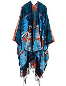 Beyove Women's Poncho Shawl Poncho Cape Open Front Warm Shawl Wrap Tassel Winter Knitted Blanket Scarf