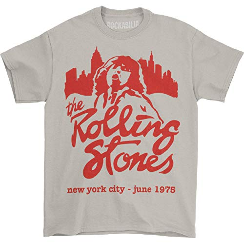 Rolling Stones Men's Mick June 1975 NYC T-Shirt X-Large Beige