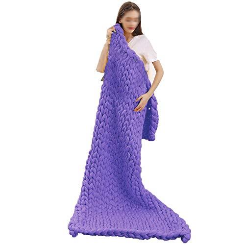 QWERTYUKJ Manta De Tiro Punto Grueso Mantas Voluminosas Poliéster Suave Y Gruesa para Sofá Manta De Yoga Decoración Hogar del Dormitorio (Color : Purple, Size : 150x200cm)