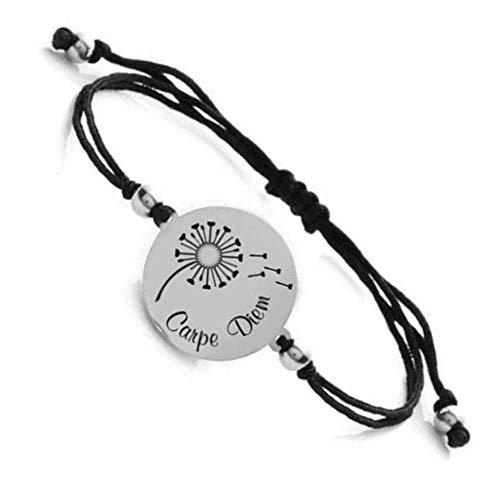 Himmelsflüsterer - Gravur-Armband 'Pusteblume' für Damen (verstellbar) mit Karma-Sprüchen, Farbe:Silber, Gravur Spruch:Carpe Diem