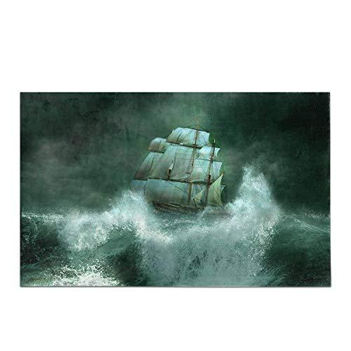 Kanaite Altes Piratenschiff Segeln im Meer Gewitter Wohnkultur rutschfeste Bad Teppich Set Saugfähige Fußmatten für Badezimmer Badewanne Schlafzimmer