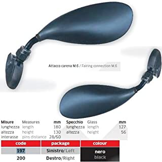 para Cagiva Aletta Oro 125 Pares de Espejos retrovisores para Moto, Color Negro, 197+200 Kit de Montaje Universal M.6 Incluido.