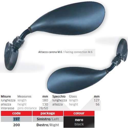 voor Kawasaki ZR 1400 ABS Formance S.E. 1 paar spiegels voor motorfiets, achterwiel, zwart, spiegels geschikt 197 + 200, montageset universele M.6 incl.