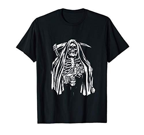 Crneo Esqueleto Grim Reaper Disfraz gtico de Halloween Camiseta