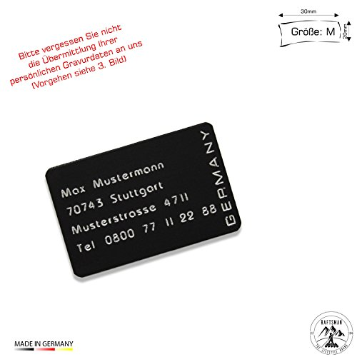Raftsman Drohnenkennzeichen/Drohnen Kennzeichnung/Kennzeichen/Fluggerätekennzeichnung/Modellflugschild/Drohnenschild inkl. individueller CNC Gravur und doppelseitigem Klebeband (Al-3020-schwarz)