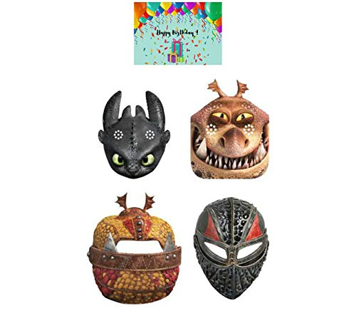 How to Train Your Dragon Party Masks - Set of 16 Masks Bundled with a Birthday Card by JPMD Party House