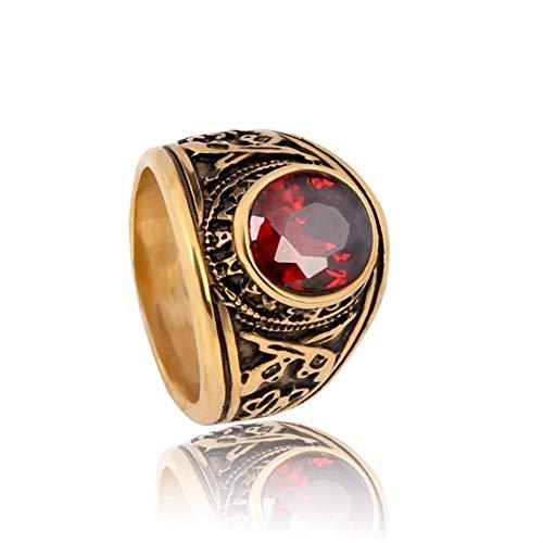 Valily Jewelry Gouden Ring heren met RedStone United States Army Military Rings, RVS vintage ring met pistool voor heren, 8, rood