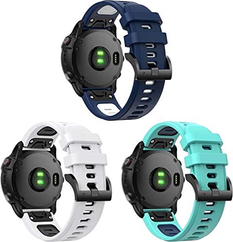 Correa de Reloj de Silicona Suave Compatible con Garmin Approach S60 / Approach S62, Repuesto Ideal (3-Pack H)