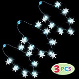 3 Pcs Light Up Snowflakes Christmas Necklaces with 6 Different Flashing Light Modes Christmas Accessories Supplies