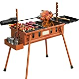 SUN HUIJIE BBQ Charcoal Grill and Offset Smoker, Outdoor for Camping (Color : Iron red)