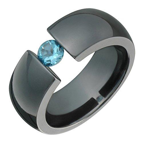 Alain Raphael Gimmel 8mm Wide Comfort fit Black Titanium Ring with Blue Topaz Tension Wedding Band Black Titanium Tension Rings
