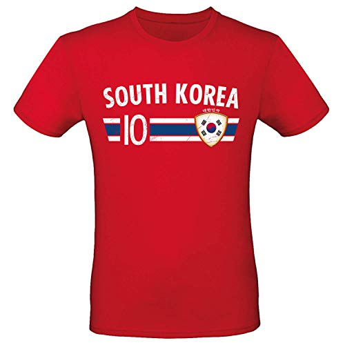 Shirt-Panda Fußball WM T-Shirt · Fan Artikel · Nummer 10 · Passend zur Weltmeisterschaft · Nationalmannschaft Länder Trikot Jersey für 2022 · Herren Damen Kinder · Süd Korea South Korea XXL