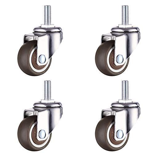Magiin 4 Stück Lenkrollen für Möbel Transportrollen Schwenkrollen Strandkorbrollen für kleine Geräte und kleine Möbel (M6)