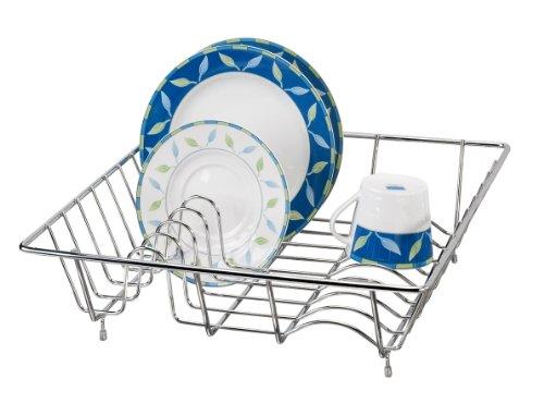 WENKO Geschirrabtropfkorb - Teller- und Tassenablage, verchromtes Metall, 35 x 35 x 9 cm, Silber glänzend