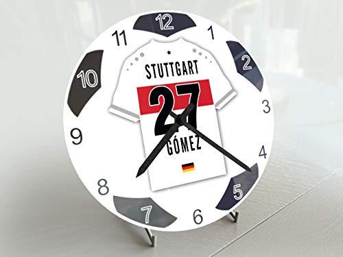 FanPlastic Deutschland Bundegliga, Kleine Fußball-Uhr – alle Teams, Fußball-Uhren-Stand-Design. !, Acryl, VfB Stuttgart