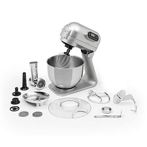 Klarstein Curve Plus robot de cocina - Mezcladora de 5 litros, Picadora de carne 4 en 1, Multifunción, Rotación planetaria, Aluminio, Accesorios, Plateado