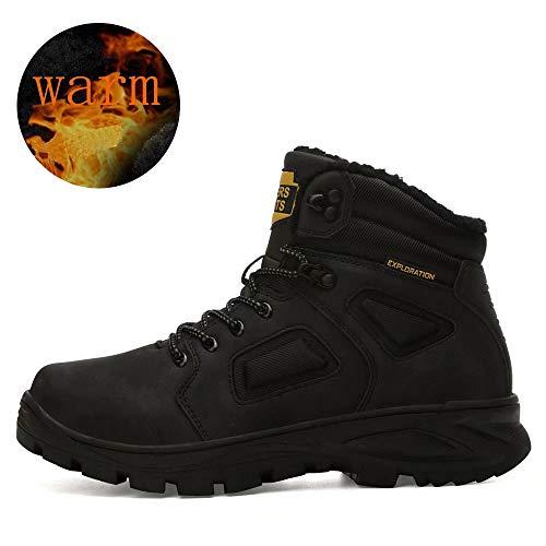 Hombre Botas de Nieve Impermeable Botas de Invierno Forro Piel Zapatillas Trekking Senderismo Sneakers Negro 46