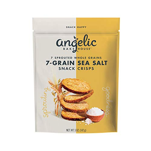 Angelic Bakehouse 7–Grain Sea Salt Snack Crisps – 5 Ounce, Pack of 3 – Sprouted Whole Grain Crackers – Vegan, Kosher and Non-GMO