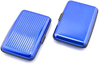TOPBATHY Portable Waterproof Aluminum 6-Slot Business ID Credit Card Holder Wallet Protective Case (Blue)